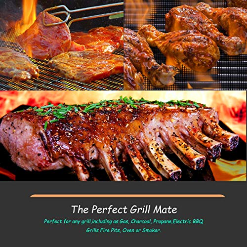 copper and black mats BBQ grill mats non stick for gas grill The perfect grill mate BBQ grill mesh mat nonstick baking mats reusable cooking mats for outdoor grills charcoal and gas grills