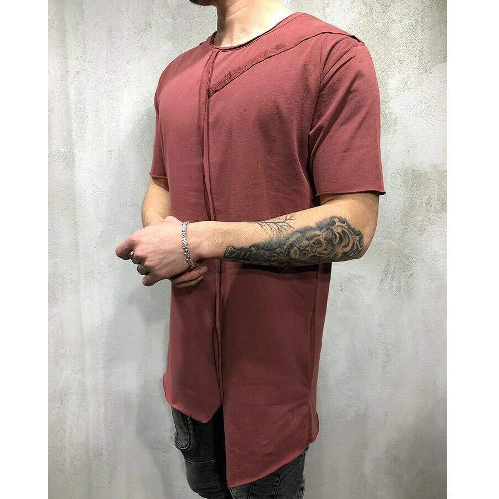Mens Summer Short Sleeve Crewneck Solid Color Asymmetry Comfy T-Shirt Tops