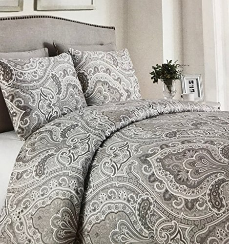 Paisley Copper (Copper Loom Queen Duvet Cover 3 Piece Set Paisley Floral - Taupe with Shades of Brown on Off White - Reversible - 300 TC, 100% Cotton)
