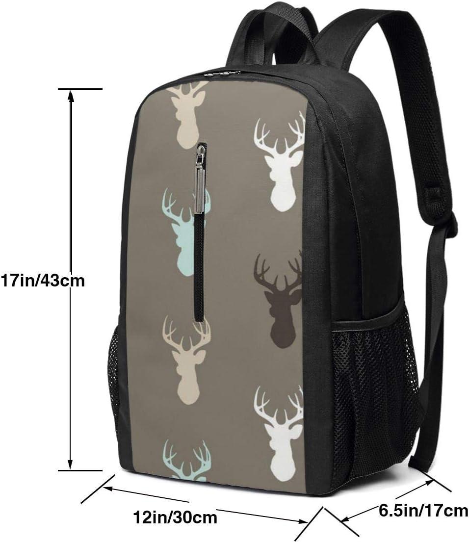 Business Durable Laptop Backpack Black 17in X 12in X 6in ~ Deer Head Backpack Water Resistant College School Computer Bag Gifts for Men Women