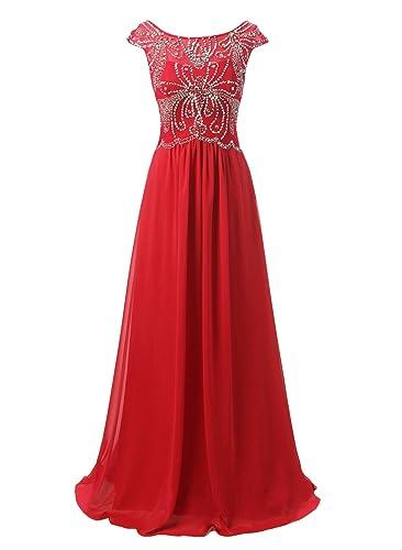 Emondora Women's Long Beading Evening Gown Cap Sleeves Chiffon Formal Dresses