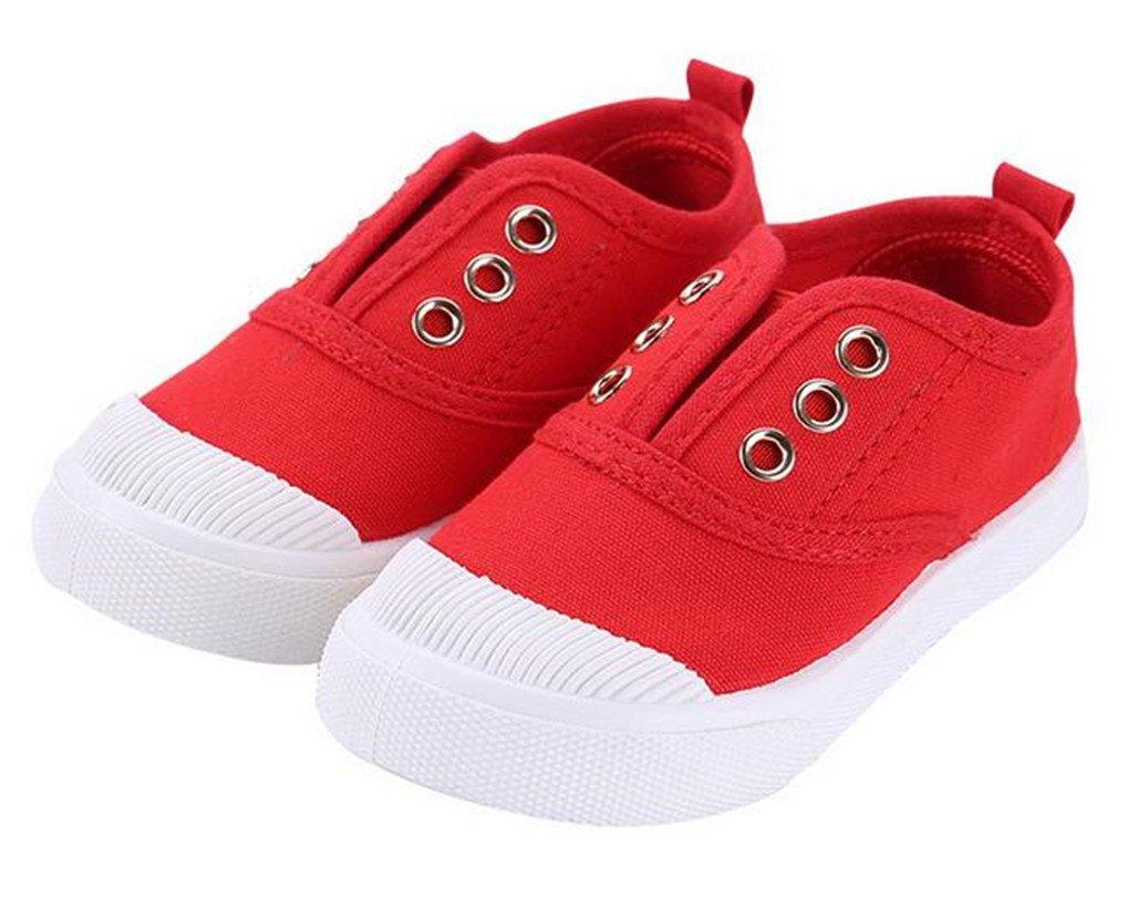 Bumud Kids Toddler Slip-on Antiskid Canvas Sneaker Boys Girls Casual Shoes (7 M US Toddler, Red)