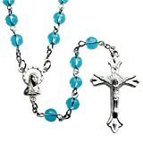 Amazon Price History for:Italian Light Blue Glass Bead Rosary Blessed by His Holiness Pope Francis