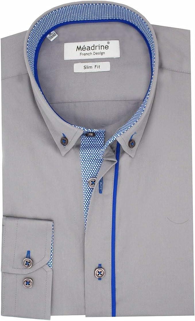 Camisa Hombre Slim Fit Fuerte Gris con Forros Azul con Topos ...