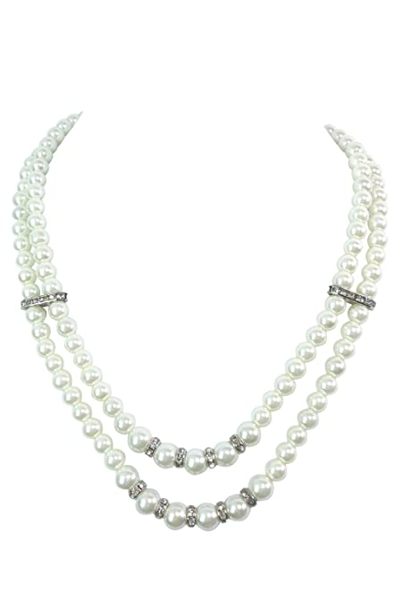 Vintage Style Jewelry, Retro Jewelry White Pearl Double Strand with Crystal Accent Necklace & Earrings $13.00 AT vintagedancer.com