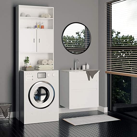 Cupboard Cabinet Bathroom Toilet Recess For Washing Machine Black High Gloss Laundry Room Storage Utility 190x64x25 5cm Floor Cabinets