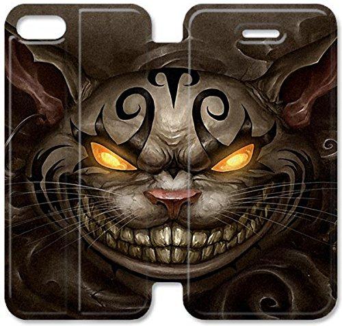 Flip étui en cuir PU Stand pour Coque iPhone 5 5S, bricolage étui de téléphone cellulaire 5 5S Alice Madness Returns Cheshire Cat Sourire Photo Yeux T8D6KV Coque iPhone Leather Coque Case 3D Retour