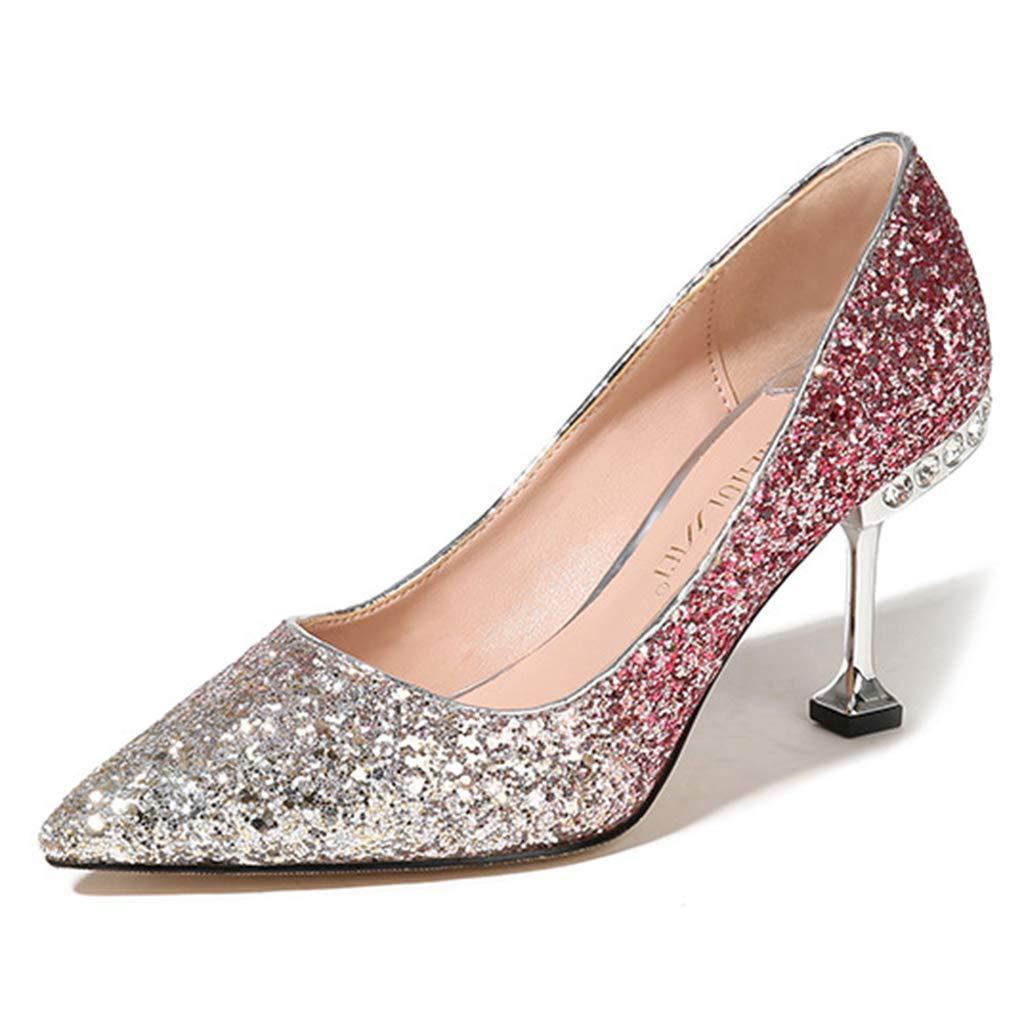 Yra Glänzende Pailletten Closed Toe Stiletto Schuhe für Laides damen Brautkleid Party Spitzschuh Schuhe Schuhe