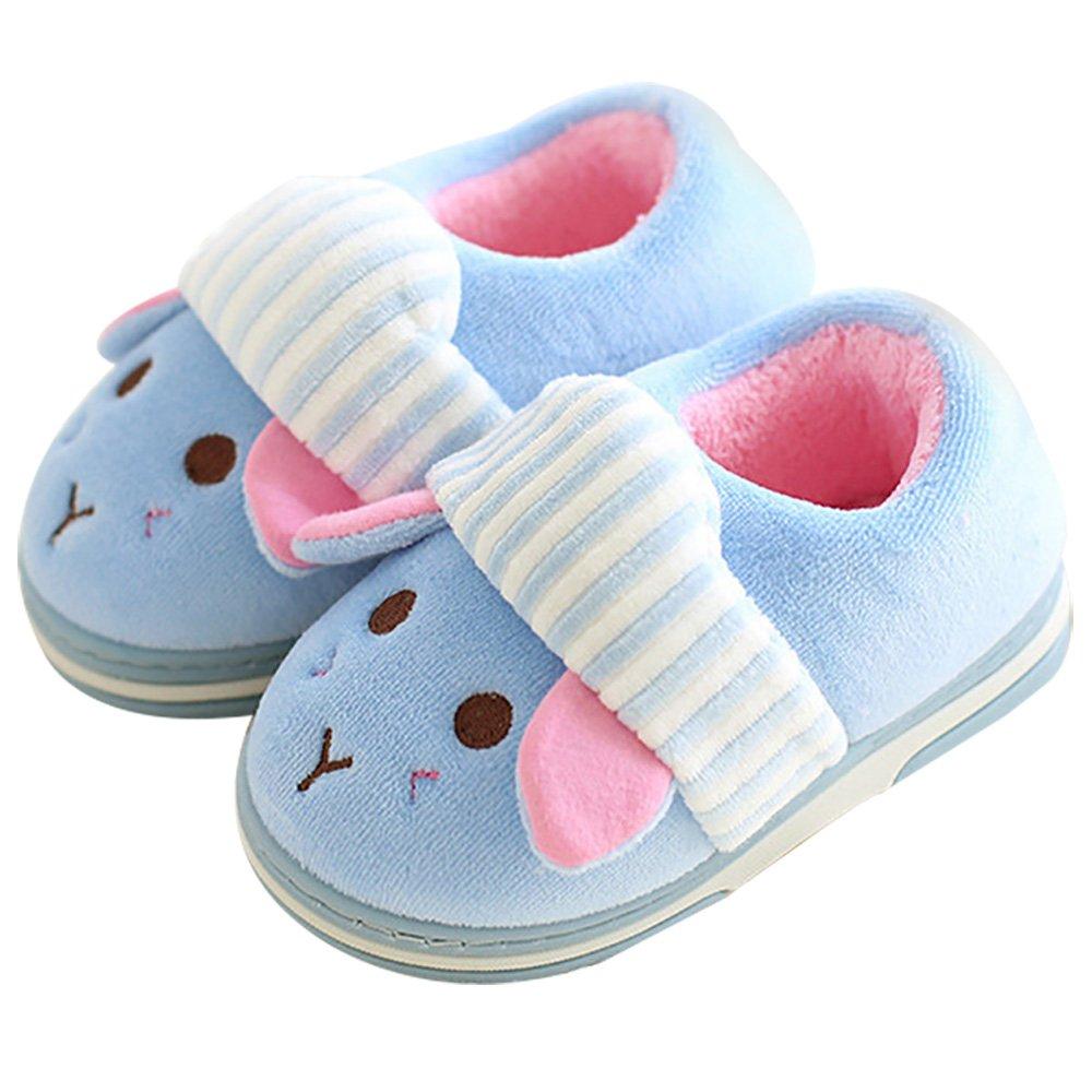 Q-Plus Bunny Plush Warm Boys Girls Slide Slippers Boots Non Slip Toddler/Little Kid,Blue,Toddler US 7 -8.5(M)