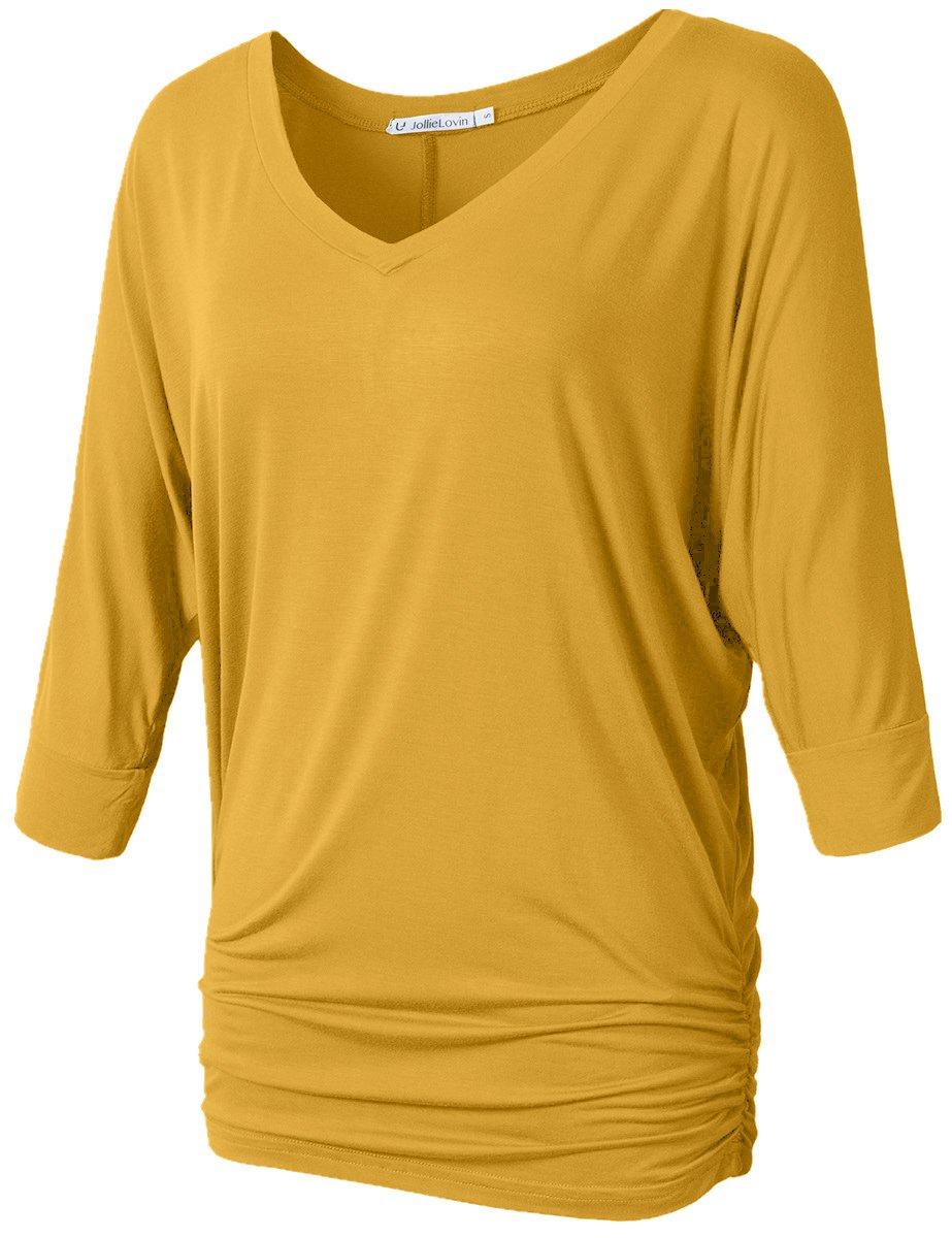 JollieLovin Womens V Neck 3/4 Dolman Sleeve Side Shirring Drape Top (3X, Yellow)