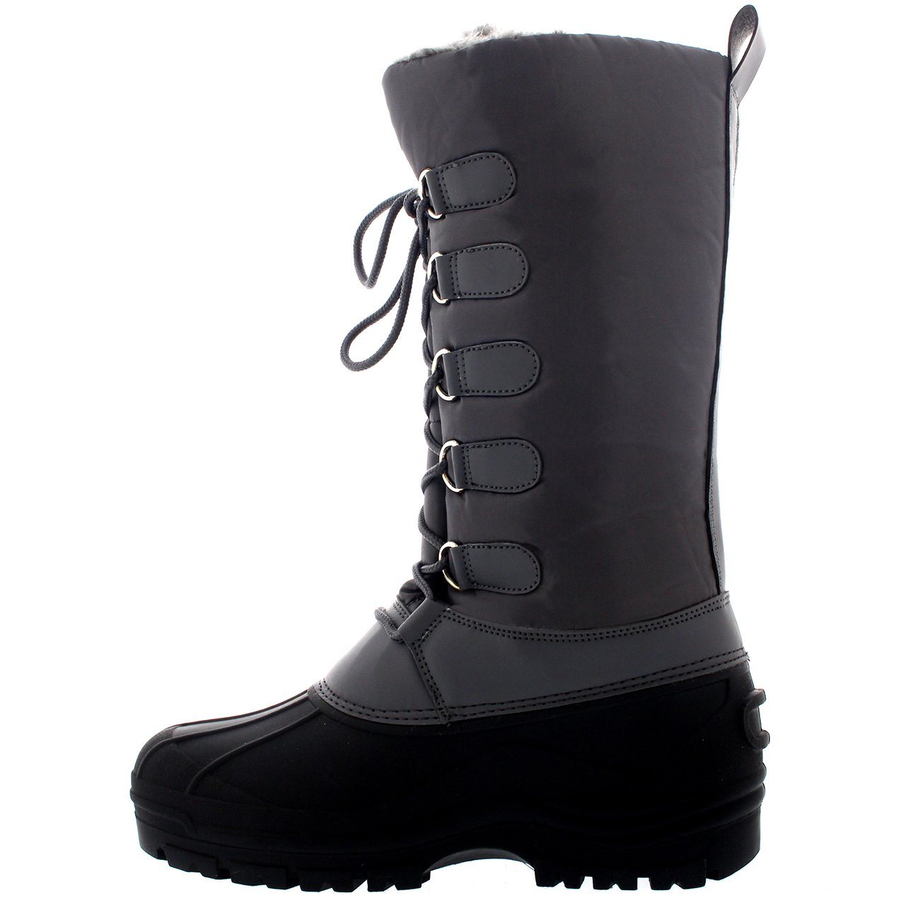 Womens Muck Lace Up Rain Nylon Durable Winter Snow Duck Mid Calf Boots B01GMU3BIO 8 B(M) US|Gray