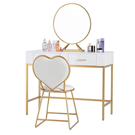 Mecor Vanity Table Set with Mirror,Wood Makeup Vanity with Gold Metal  Legs,Heart Shape Cushioned Stool,Girls Women Bedroom Furniture Set Makeup  Table ...