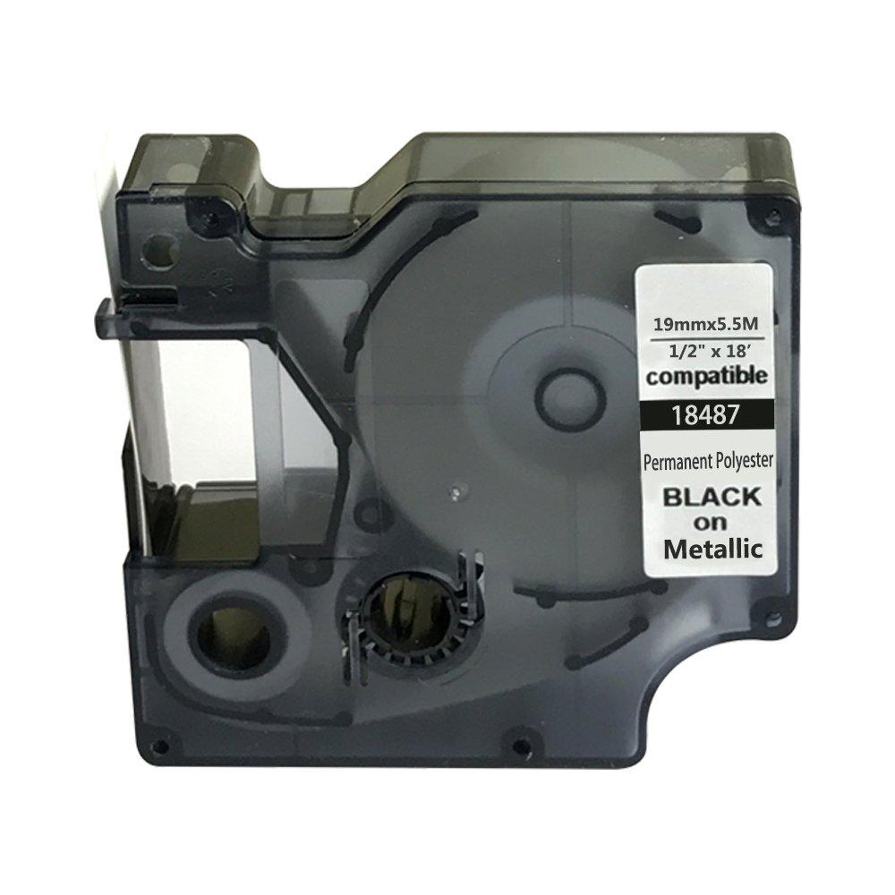 Neouza compatibile per DYMO Rhino Industrial IND nastro per etichette permanente poliestere lunghezza 18 ', 9mm, Black on Metallic, 1 DUOVEC