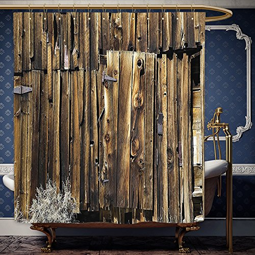 Wanranhome Custom-made shower curtain Rustic Oak Barn Siding Door Cracked Rusted Hinges Dated Timber Mansion Farmland Nobody Design Decor Brown For Bathroom Decoration 48 x 72 inches