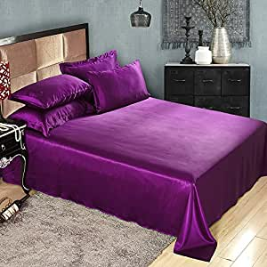 LILYSILK Seamless Luxury Mulberry 25 Momme Silk Bedding Sets 4pcs Violet Queen