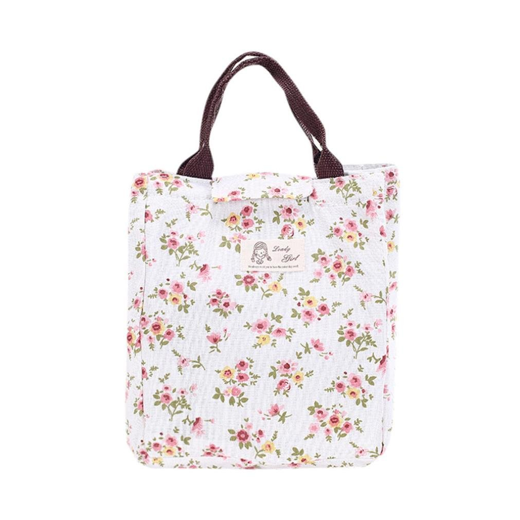 Lunch Bag, Portable Insulated Thermal Cooler Lunch Box Carry Tote Storage Bag Case Picnic (Multicolor C)