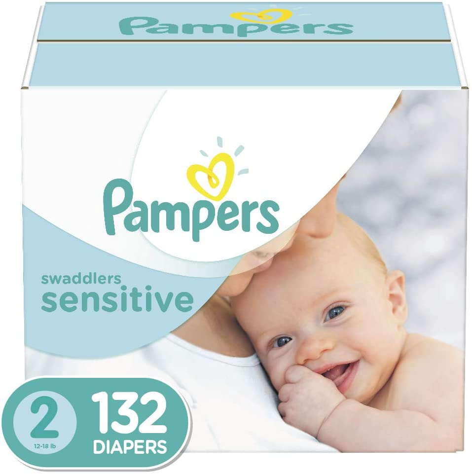 Pampers Diapers Size 2 Swaddlers SENSITIVE Disposable Baby Diapers Super Economy Pack 132 Count