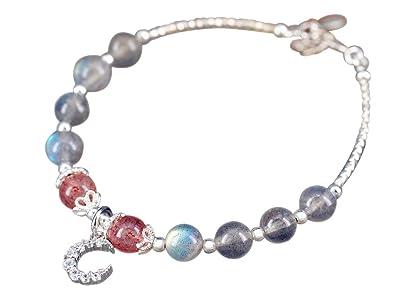 84196a4ebe83 Nico de pulsera de plata piedra de luna bola de cuarzo rosa con ...