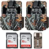 Two Browning Dark Ops Pro XD Dual Lens 24MP 1080p Trail Cameras with Two 16GB Cards and Focus USB Reader