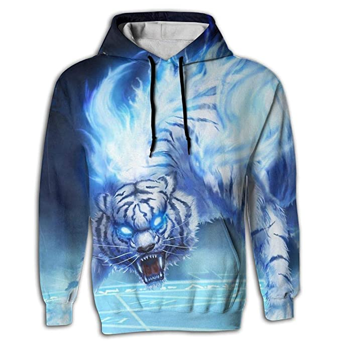 b6679bfd8d46 Amazon.com  3D Print Men s Hooded Sweatshirts Tiger Blue Fire Rage Eyes  Drawstring Pullover Hoodies Pockets  Clothing
