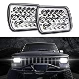 MICTUNING 2pcs 45W 5x7/7x6 Inch Rectangular LED Headlights, Hi/Lo Sealed Beam H6054 6053 6052 5054 for Jeep Wrangler YJ XJ MJ Chevy GMC Safari Truck