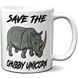 Save The Chubby Unicorns Hipster Funny White Coffee Mug   Great Mug Gift for Unicorn and Rhino Lovers   Funny 11 Ounce White Coffee Mug by Hot Ass Tees