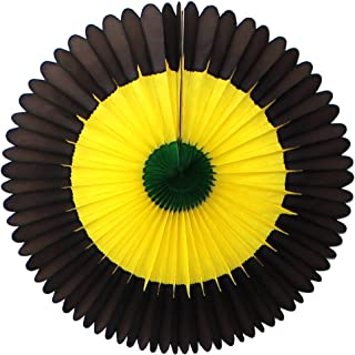 product image for 3-Pack 13 Inch Tissue Paper Party Fans (Jamaican - Black/Yellow/Green)
