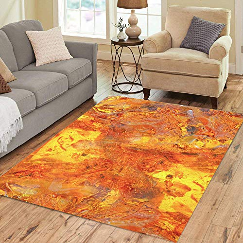 (Pinbeam Area Rug Beautiful Bright Colored Amber Yellow Orange of Petrified Home Decor Floor Rug 5' x 7' Carpet)