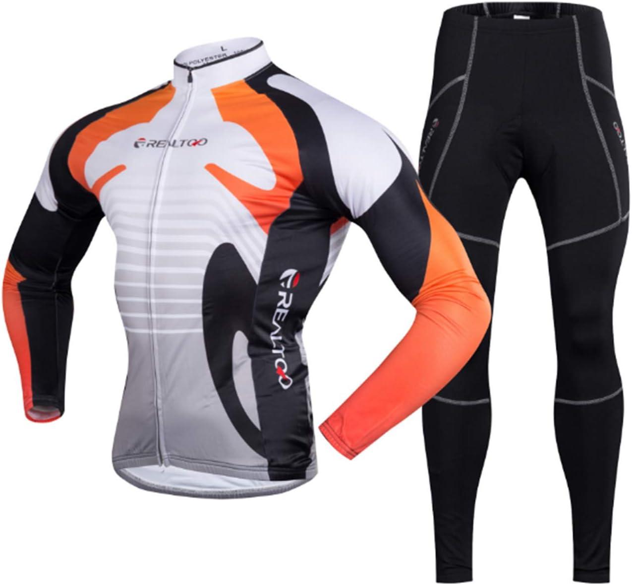 Orange M KIKIYA Herren Radsportbekleidung Anzug Winter Thermo Fleece Sportswear Set Langarm Winddicht Jersey Mantel Jacke + 3D Gepolsterte Hose Hose