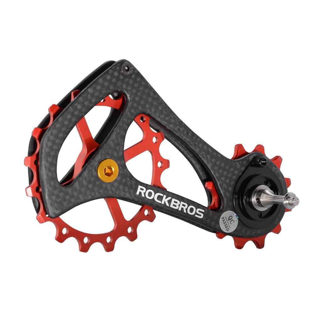 ROCKBROS(ロックブロス)17T ディレイラー プーリー ビッグプーリー カーボン 自転車プーリー 20インチ以上 RIVAL/FORCE/RED対応 B07728YHR4レッド