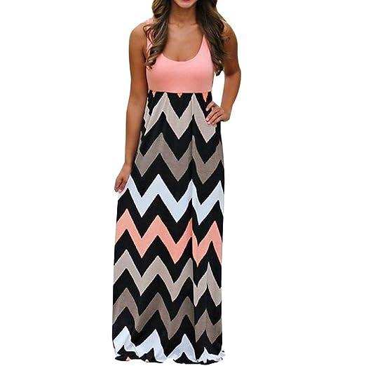 b9da2fd521 Ankola Womens Boho Scoop Neck Wave Striped Patchwork Maxi Long Dress  Sundress (XXXL