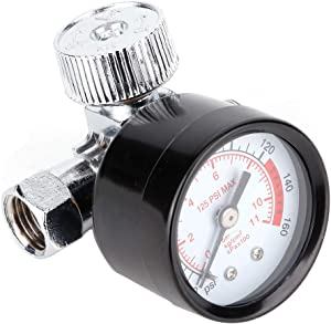 Terisass Pressure Gauge Air Compressor Pressure Regulator 1/4 '' Air-Compressor Accessories for Air Compressor and Air Tools 0-125PSI