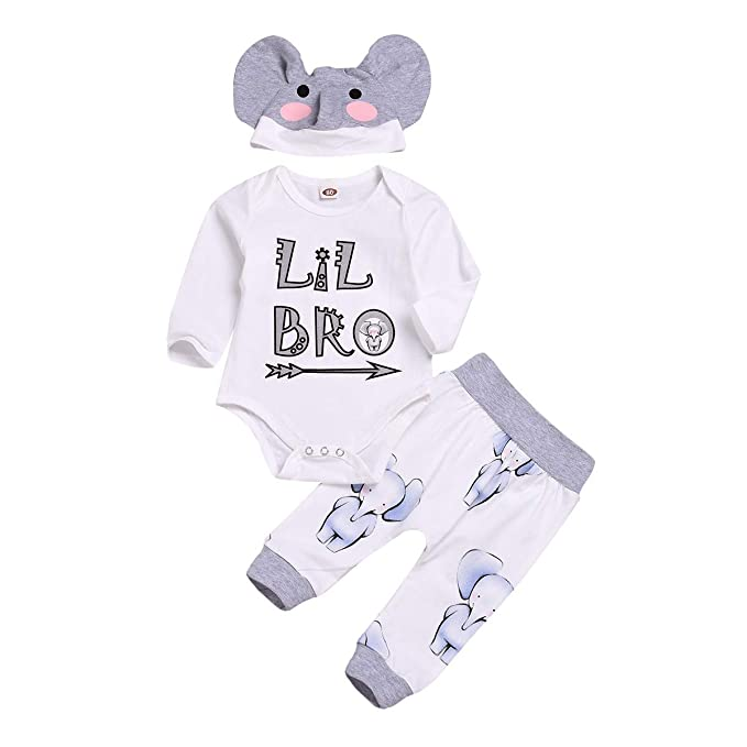 3Pcs Baby Boys Little Brother Camouflage Romper Tops+Pants Leggings Hat Outfits Set