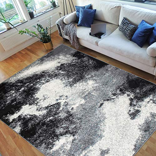 Handcraft Rugs-Abstract Rugs Clouds Pattern Carpet Gray Black White (8x10 feet)