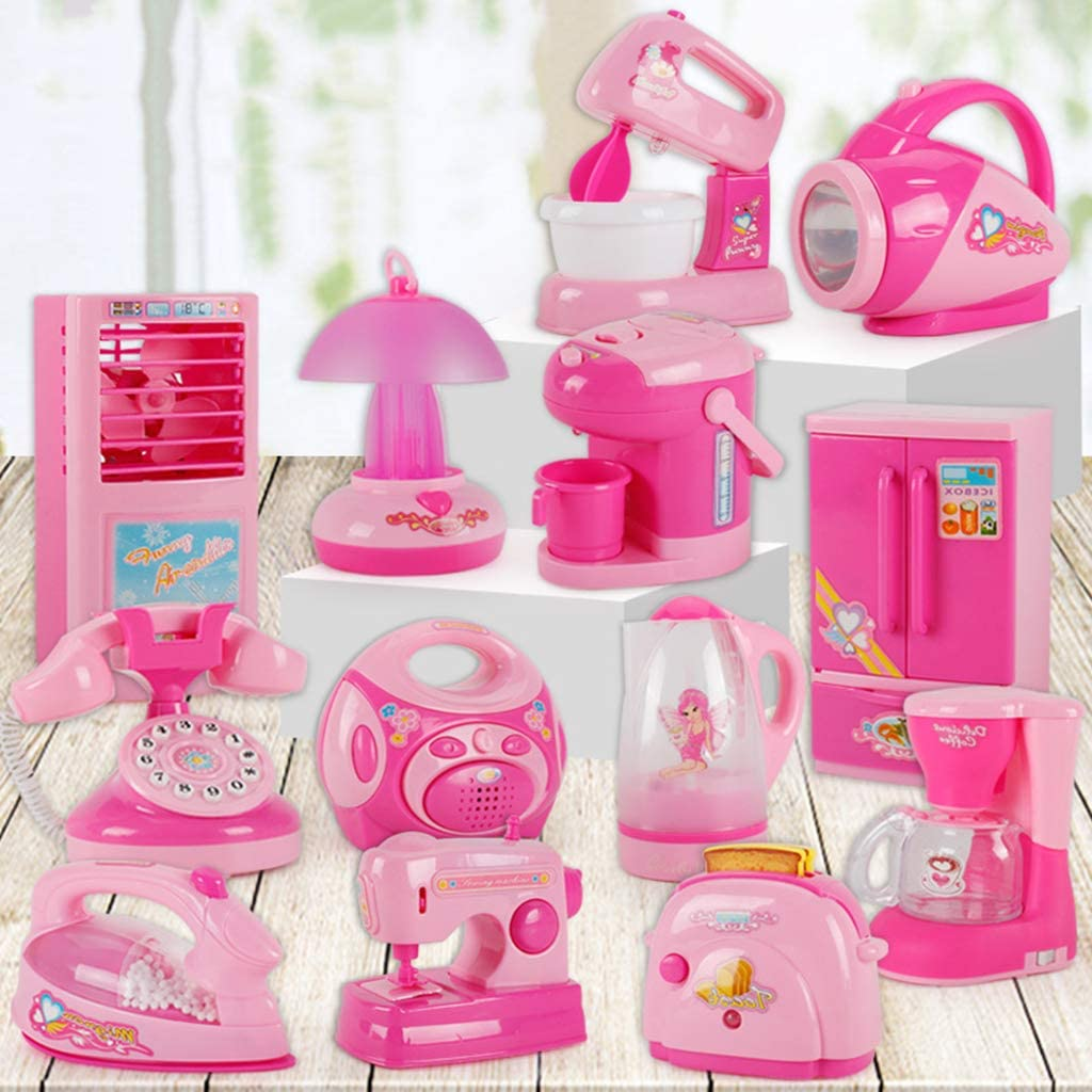 EAPTS Children Kid Boy Girl Mini Kitchen Electrical Appliance Big Electronic Fan Toy Set Early Education Dummy Household Pretended Play House Gift