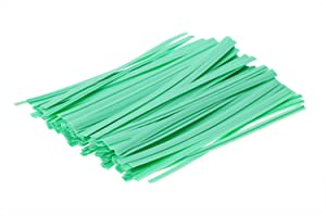 ONLYKXY 100 Pieces 4 Inch Plastic Twist Ties, Bread Twist Ties, Candy Ties for Bags (Green)