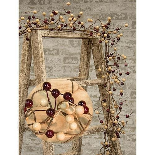Heart of America Waterproof Berry Garland Burgundy/Gold 48''