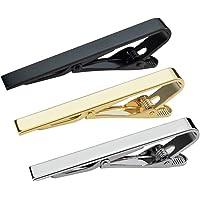 Pisacorbata de Acero Inoxidable de alta calidad, CoWalkers alfileres de corbata Tie Clips corbata de los hombres Corbata de metal negra de oro plata Corchetes de metal Broches metálicos Moda profesional de negocios Diseños surtidos (3 Pcs)