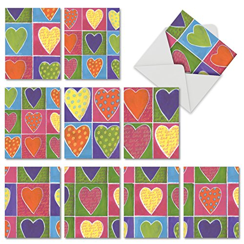 From The Heart: 10 Assorted Valentine's Day Cards, with Envelopes. M6047VDG-B1x10