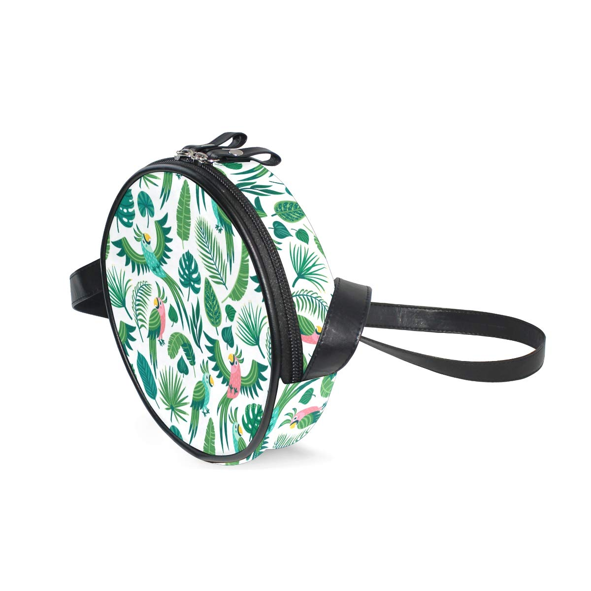 Colorful Summer Background With Cute Parrots And Palm Leaves Super Cute Design Small Canvas Messenger Bags Shoulder Bag Round Crossbody Bags Purses for Little Girls Gifts