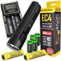 NITECORE EC4 1000 Lumen CREE XM-L2 LED tactical die-cast flashlight 2 X Genuine Nitecore NL189 18650 3400mAh Li-ion rechargeable batteries, Nitecore D2 intelligent digital Charger, in-Car Charging Cable and four EdisonBright CR123A Lithium Batteries