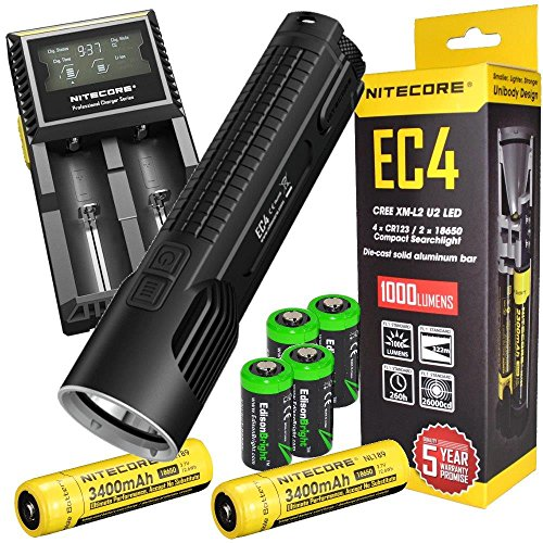 Nitecore EC4 1000 Lumen LED tactical flashlight 2 X 18650 Li-ion rechargeable batteries, D2 intelligent digital Charger, in-Car Charging Cable and four EdisonBright CR123A Lithium Batteries