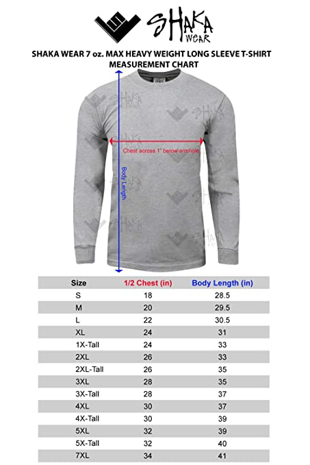 Shaka Wear 2Pack Men's Max Heavy Weight 7 oz Cotton Long Sleeve T-Shirt