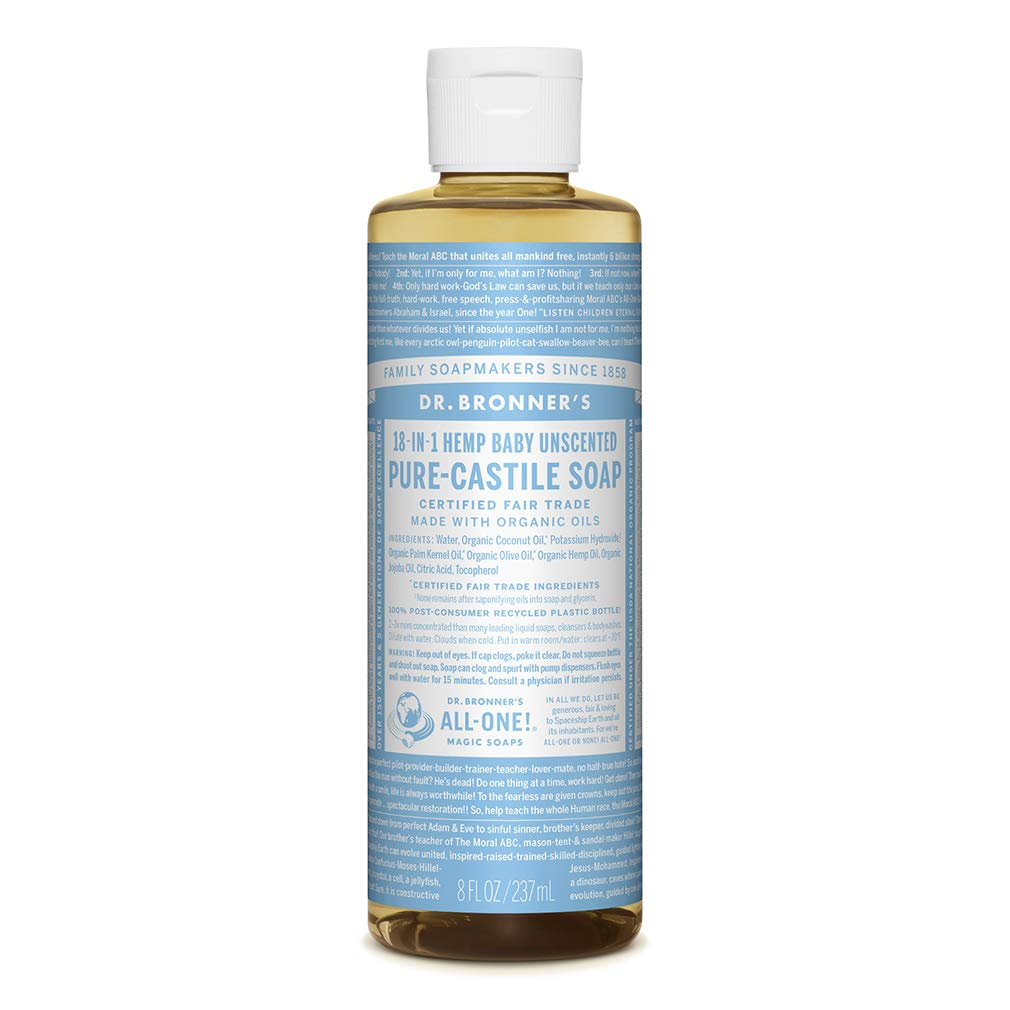 Dr. Bronner's - Pure-Castile Liquid Soap (Baby Unscented, 8 Ounce) - Made with Organic Oils, 18-in-1 Uses: Face, Hair, Laundry and Dishes, For Sensitive Skin and Babies, No Added Fragrance, Vegan