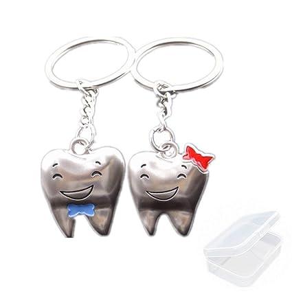 PPX 2 Llaveros con Motivo de Dientes Sonrientes para Pareja o Amigos,con Caja(Style 12/Tooth)