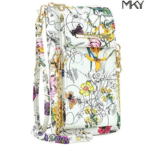 Cellphone Wallet Smartphone Pouch Clutch Purse Crossbody Shoulder Bag Wristlet Smart Phone Case White Floral