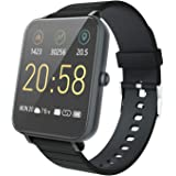 """YIRSUR Smart Watch, Always-on 1.5"""" Large High Definition Touch Screen, Fitness Tracker Heart Rate Recorder Step Counter and Sleep Monitor, IP68 Waterproof, Sync Message for Android & iOS (Black)"""