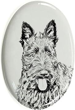 ArtDog Ltd Schnauzer Oval Grabstein aus Keramikfliesen mit Einem Bild eines Hundes