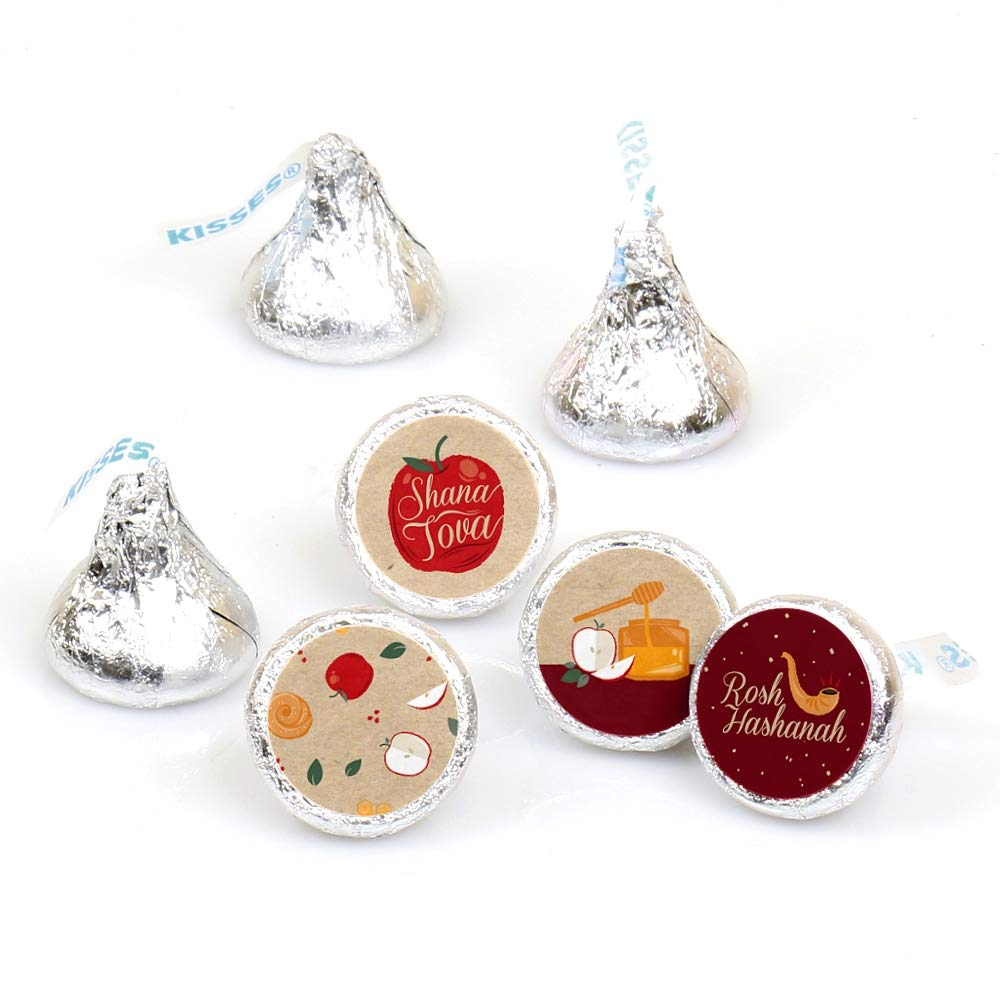 rosh hashanah jewish new year round candy sticker favors labels fit hersheys kisses