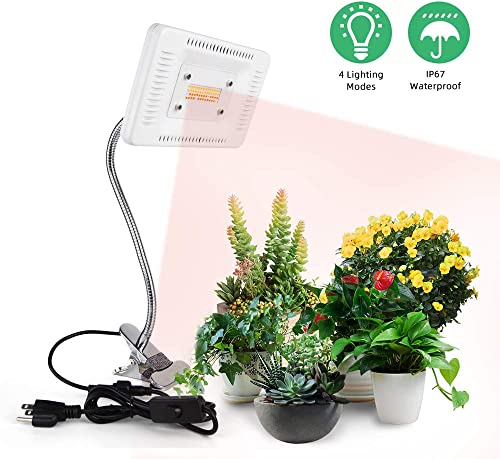 LED Grow Lights for Indoor Plants, CANAGROW 50W Sunlike Full Spectrum Plant Grow Light, Clip On Desk Waterproof Plant Lamp, 4 Lighting Modes, 360 Adjustable Gooseneck, Professional for Seedling Growi